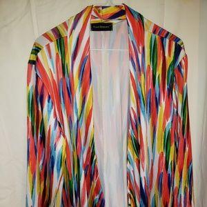 multi color 3/4 sleeve open cardigan  XL